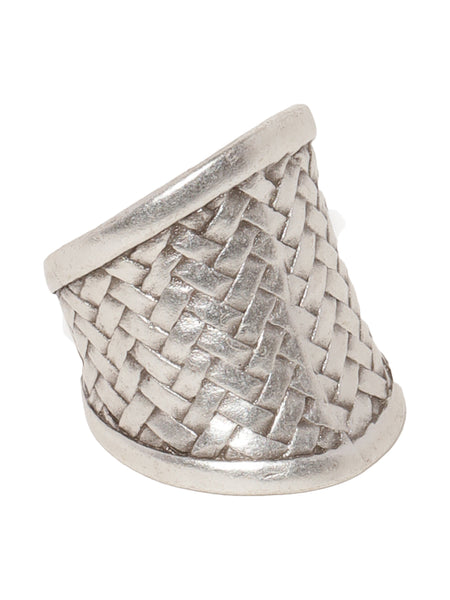 Mesh Pattern Silver Plated Ring