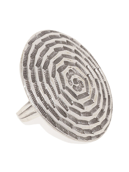 Round Engraved Silver Plated Adjustable Ring