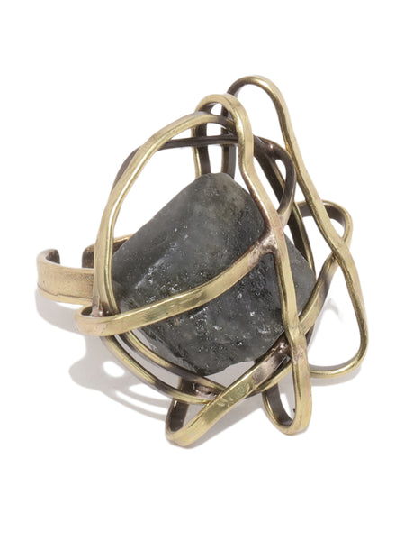 Antique Bronze Stone Ring