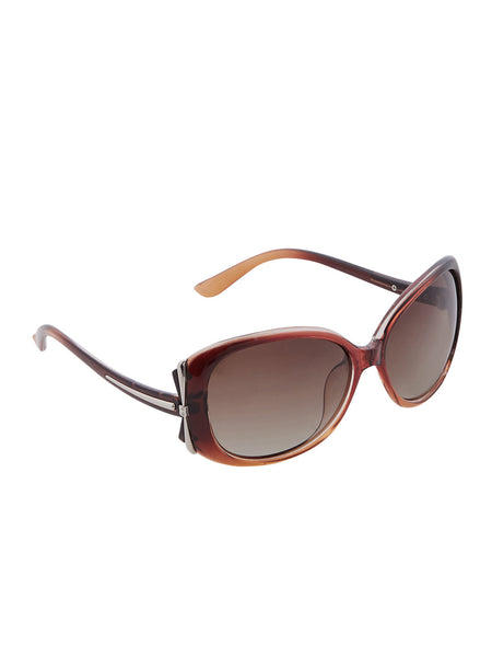 Brown Acetate Wraparound Sunglasses in PC - Thingalicious  - 1