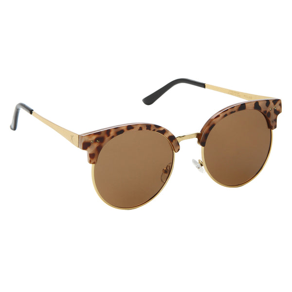 Brown Half Rim UV Protected Round Sunglasses