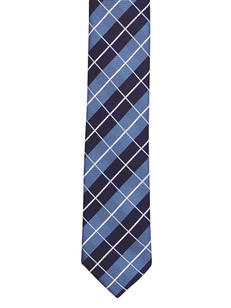 Dark Blue Plaid Tie - Thingalicious  - 1