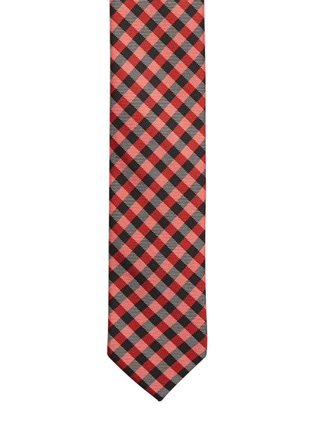 Classic Red and Black Check Tie - Thingalicious  - 1