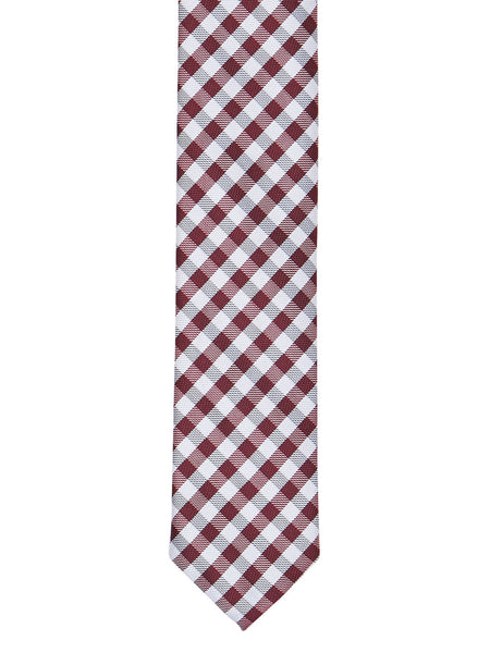 Classic Grey and Maroon Check Tie - Thingalicious  - 1