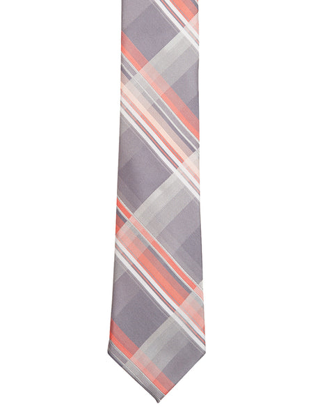 Grey and Peach Plaid Tie - Thingalicious  - 1
