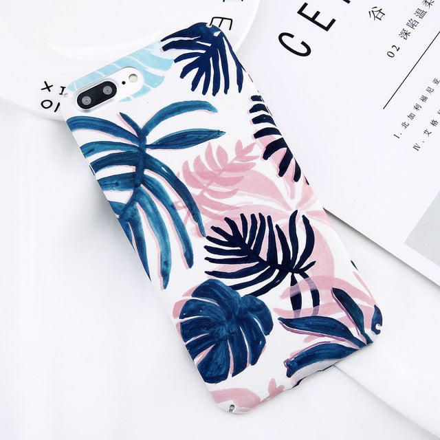 USLION Matte Hard PC Case For iPhone 7 7 Plus Green Leaf Flower Phone Cases Cactus Plant Back Cover For iPhone X 8 7 6 6s Plus