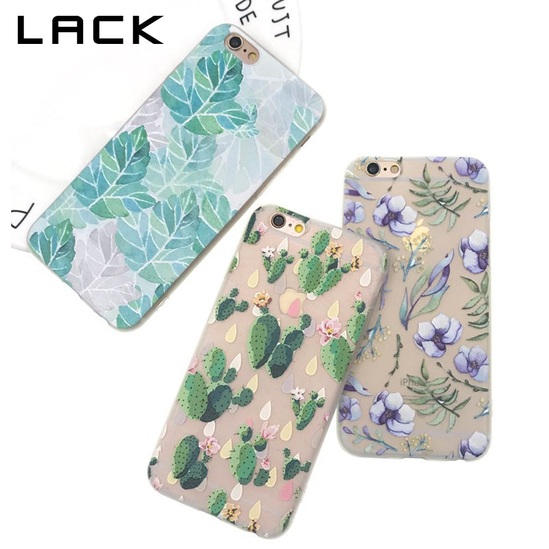 LACK Plants Leaf Cactus Flower Phone Case For iphone 6 Case For iphone 6S 6 Plus Fashion Ultra Slim Soft TPU Cases Cartoon Cover