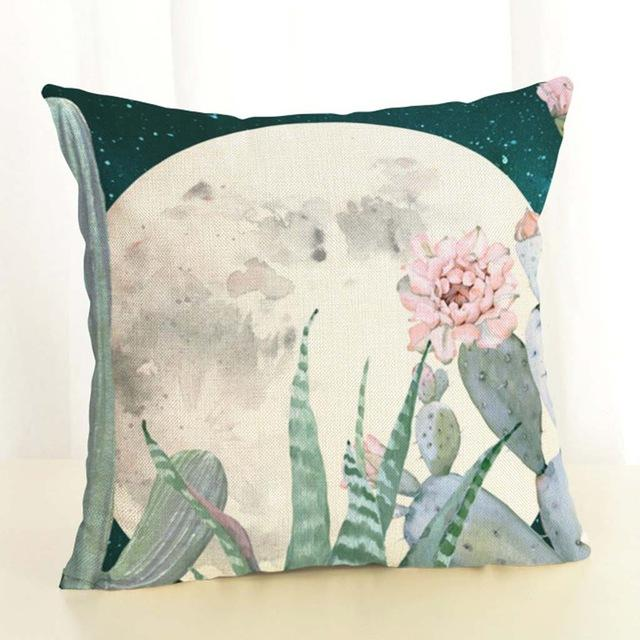 Cactus Cushion Cover Throw Cotton Linen