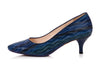 kitten heel almond toe blue low heel wide shoe