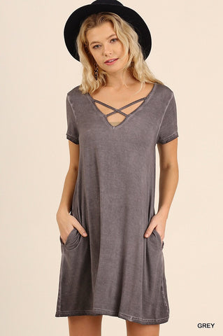 V-Neck Washed Dress w/Crossed Neckline and Pockets