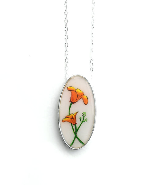California Poppy Oval Necklace in Silver
