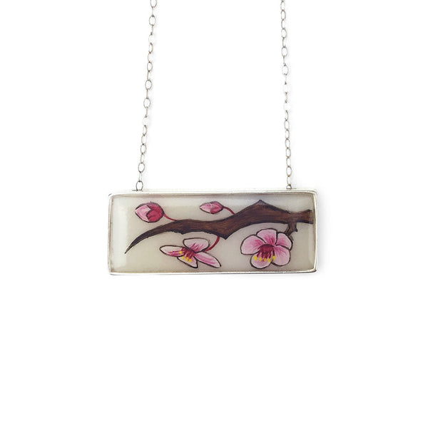 Cherry Blossom Horizontal Bar Necklace