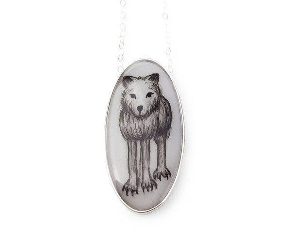 Grey Wolf Oval Necklace