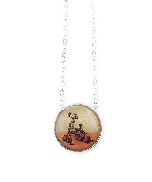 Mars Rover Mini Round Necklace