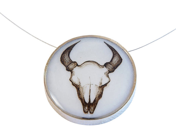 Bison Skull Large Round Necklace