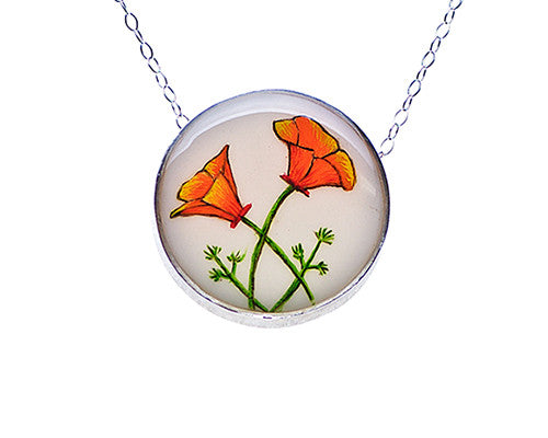 California Poppy Flower Medium Round Necklace