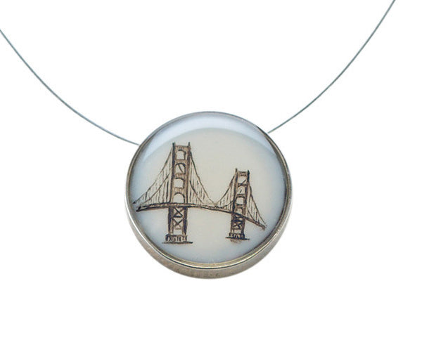 Golden Gate Bridge Small Round Necklace