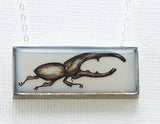 Rhinoceros Beetle Horizontal Rectangle Necklace