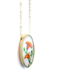 California Poppy Oval Necklace in Gold Tone