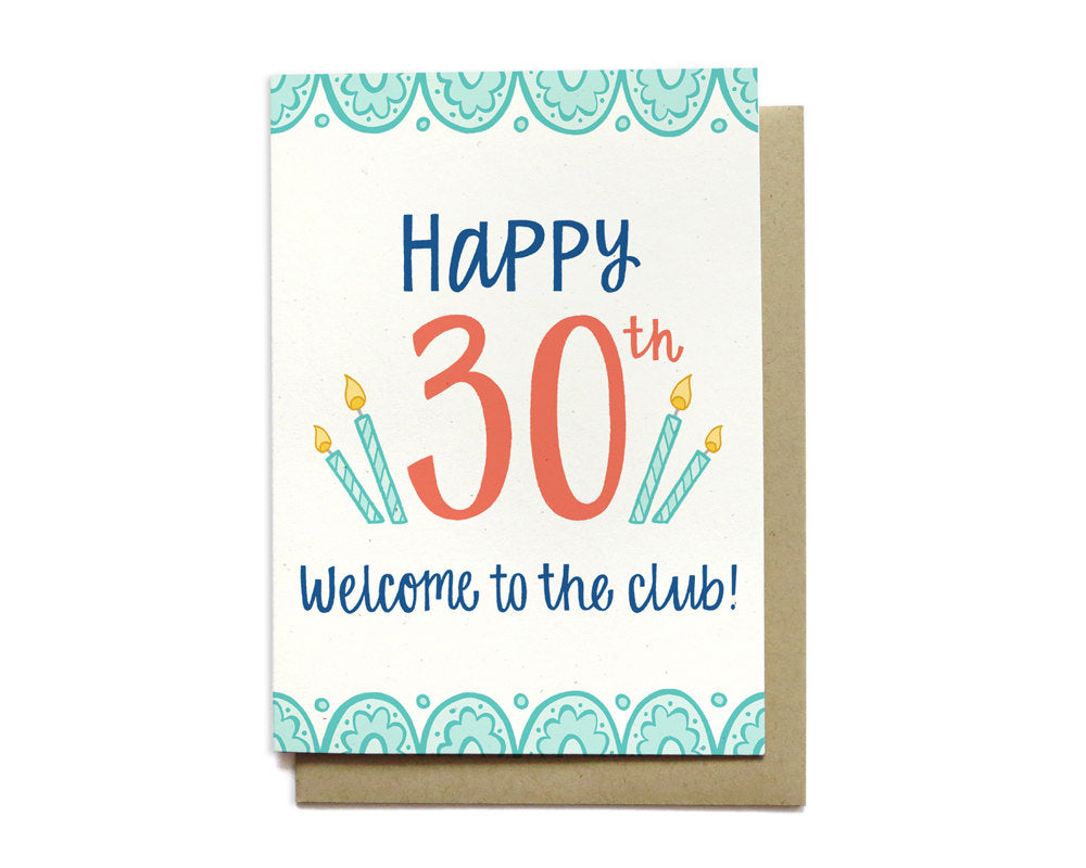 30th Birthday Card Welcome to the Club Gifted Boutique and Wrappery