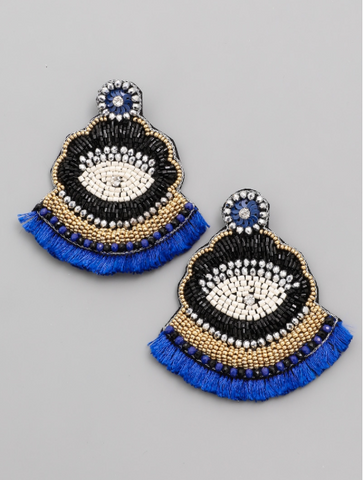 Blue Beaded Statement Eye Earrings