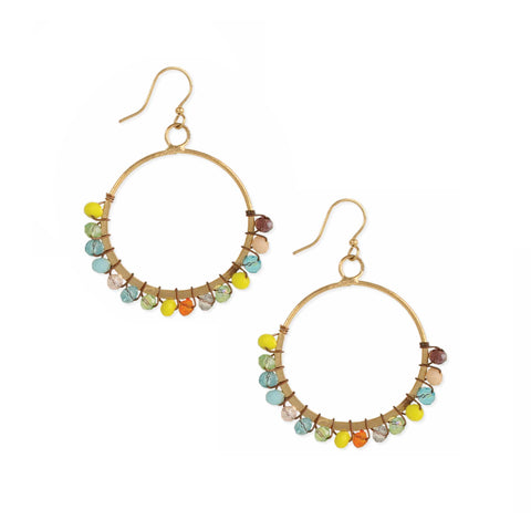 Boho Beauty Multi Bead Gold Circle Earrings