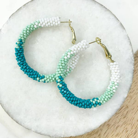 Turquoise and Mint Beaded Hoop Earrings