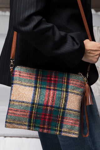 Beige and Red Plaid Crossbody Bag