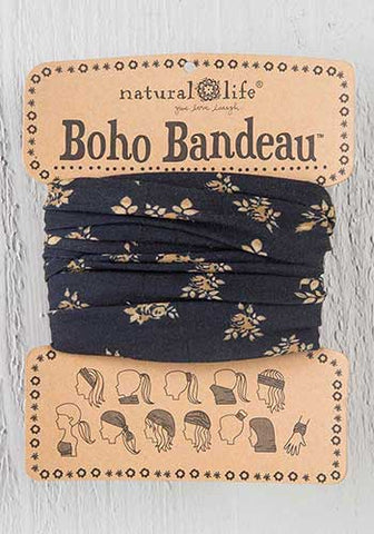 Boho Bandeau Headband - Black and Ivory Floral