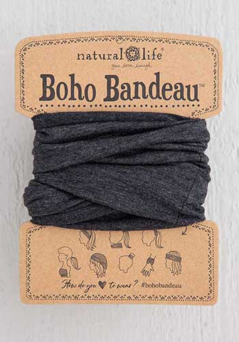 Boho Bandeau Headband - Charcoal Gray