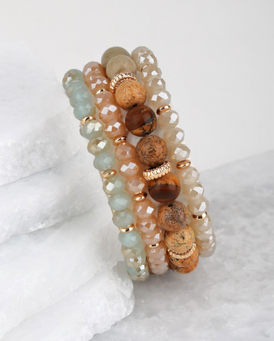 Natural Stone and Glass Beaded Bracelet Set