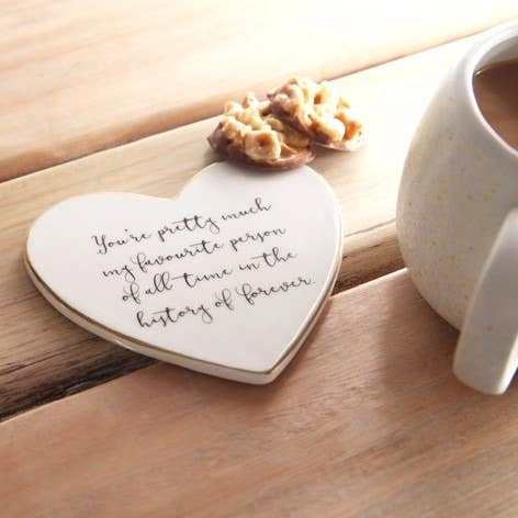 Ceramic Heart Coaster - Favourite Person