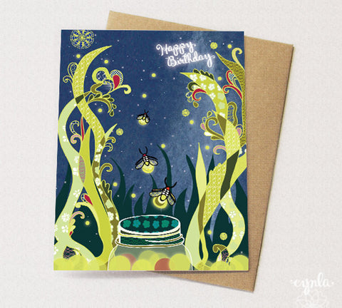 Card - Happy Birthday - Fireflies
