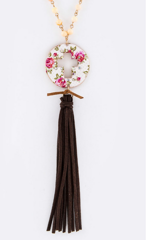 Floral Cross and Leather Tassel Necklace