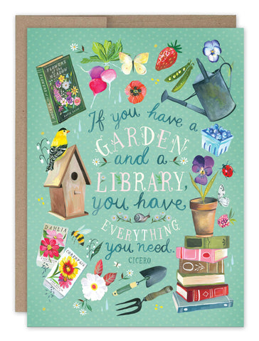 Birthday Card - Garden & Library