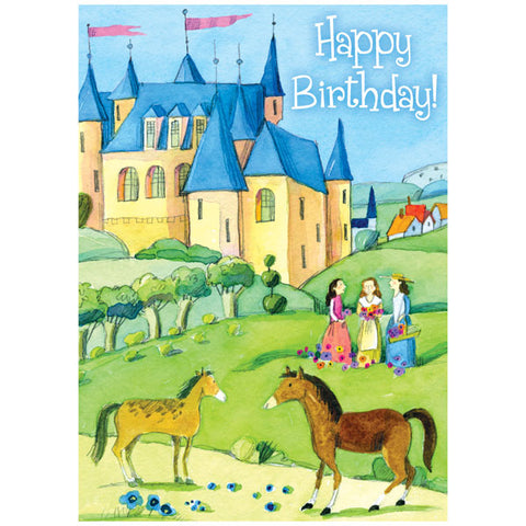 Kid's Birthday Card - Girls and a Castle