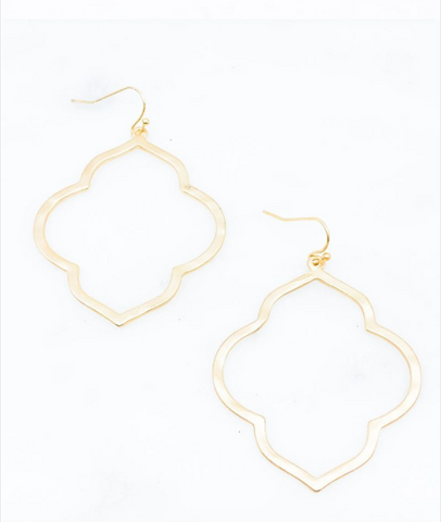 Matte Gold Quatrefoil Earrings