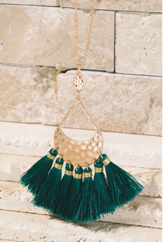 Hunter Green Tassel Necklace