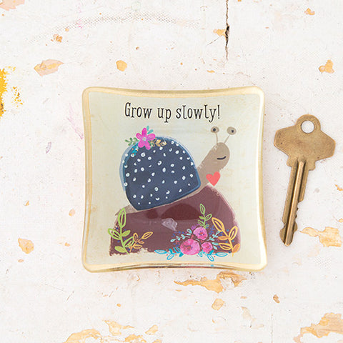 Glass Trinket Tray - Grow Up Slowly