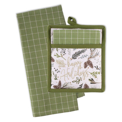 Happy Holidays Pine Kitchen Towel and Potholder Set