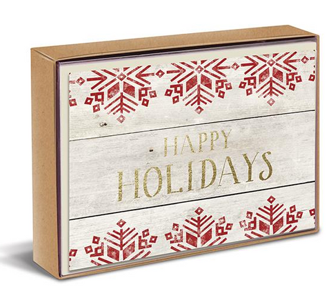 Rustic Happy Holidays Boxed Cards