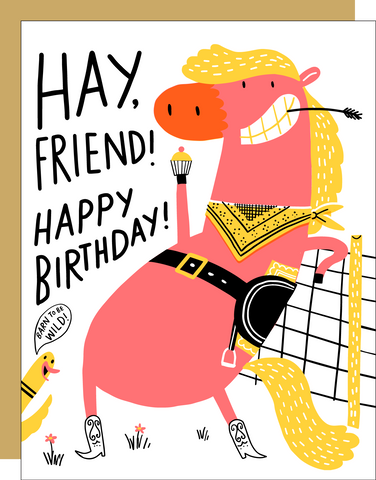 Birthday Card - Hay, Friend!