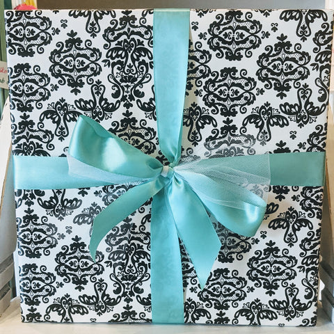 Gift Wrap Service - Black and White Damask