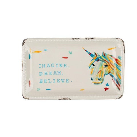Imagine Dream Believe Unicorn Trinket Dish