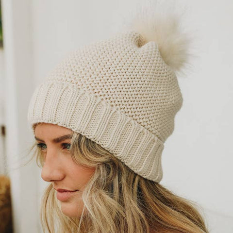 Oatmeal Knit Sherpa Lined Hat
