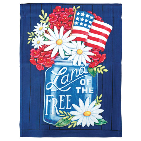Garden Flag - Land of the Free Mason Jar