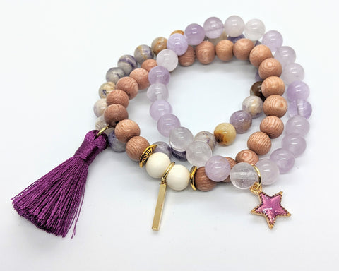 Purple Star Stacking Bracelet Set