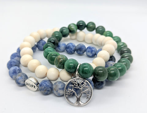 Hope + Tree Charm Bracelet Set