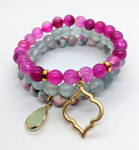 Green and Fuchsia Bracelet Set