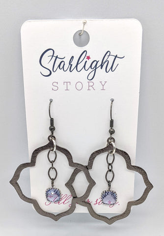 Flower Quatrefoil Earrings with Lavender Gem